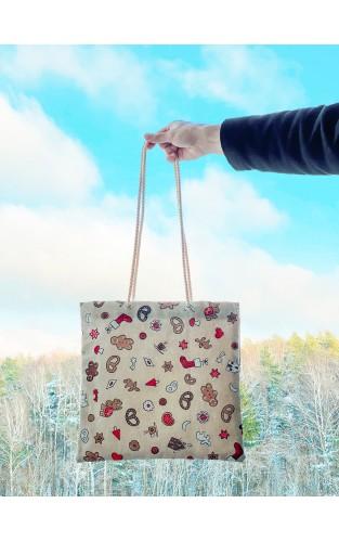 """Drobinis maišelis iš lino """"Kalėdos"""""""